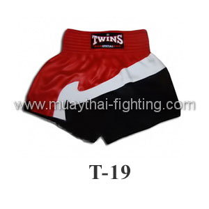 Twins Special Muay Thai Shorts Trio Red White Black T-19