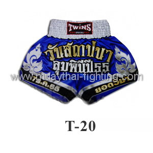 Twins Special Muay Thai Shorts Found Lumpini Blue White T-20