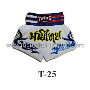 Twins Special Muay Thai Shorts White with Blue Tattoo T-25