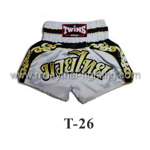 Twins Special Muay Thai Shorts White with Black Trim T-26