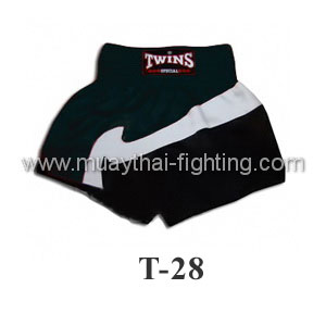 Twins Special Muay Thai Shorts Black with White T-28