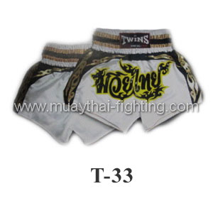 Twins Special Muay Thai Shorts White Muay Thai T-33