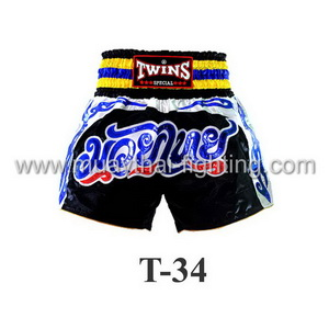 Twins Special Muay Thai Shorts Black Blue T-34