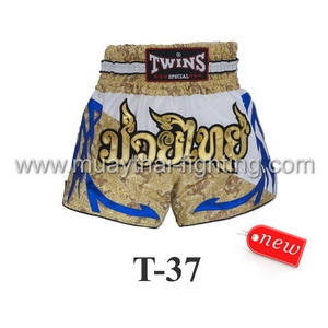 Twins Special Muay Thai Shorts White Silk Dragon Gold  T-37
