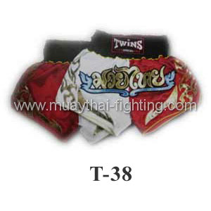 Twins Special Muay Thai Shorts Duo White Red T-38