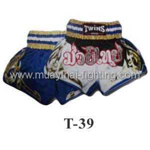 Twins Special Muay Thai Shorts Black White with Gold T-39