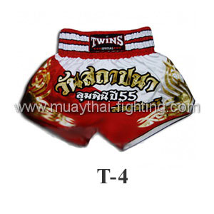 Twins Special Muay Thai Shorts Found a Lumpini Red White T-4