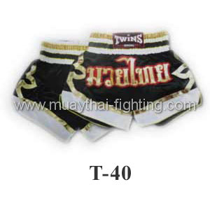 Twins Special Muay Thai Shorts Black with White T-40
