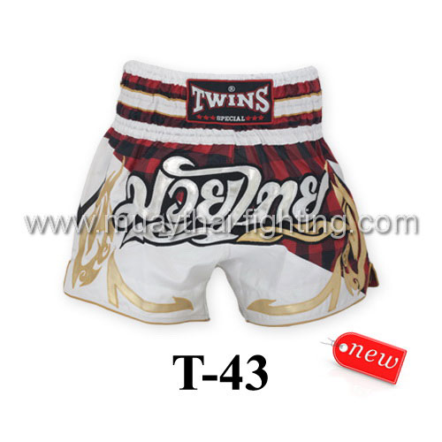 Twins Special Muay Thai Shorts Scottish Red T-43