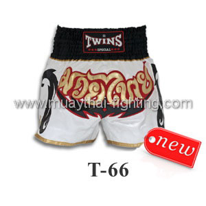 Twins Special Muay Thai Shorts White T-66