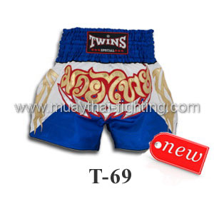 Twins Special Muay Thai Shorts White Blue T-69