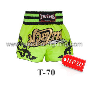 Twins Special Muay Thai Shorts Green Muay Thai T-70