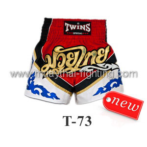 Twins Special Muay Thai Shorts Red White T-73