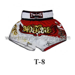 Twins Special Muay Thai Shorts Duo Red White T-8