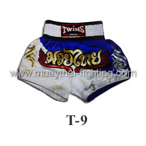 Twins Special Muay Thai Shorts Due Blue White T-9