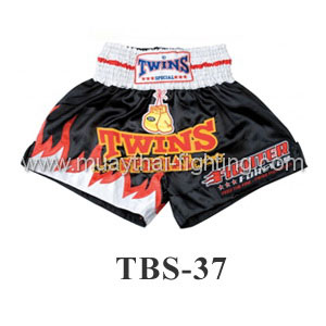 Twins Special Muay Thai Shorts Black Fire TBS-37