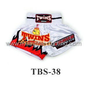Twins Special Muay Thai Shorts White Fire TBS-38