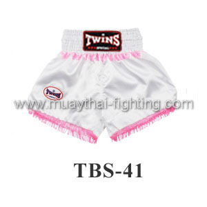 Twins Special Muay Thai Shorts White with tassel TBS-41