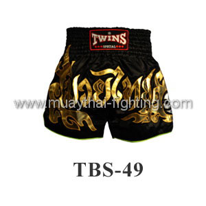 Twins Special Muay Thai Shorts Black Gold TBS-49