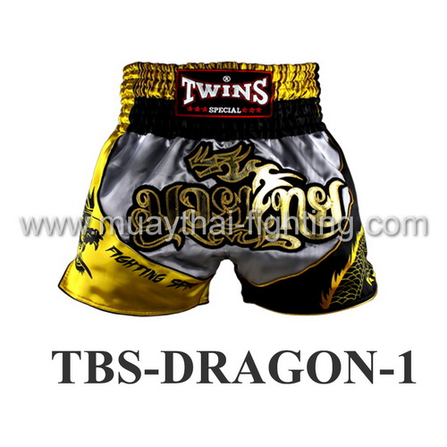 Twins Special Muay Thai Shorts Dragon Silver Yellow TBS-DRAGON-1