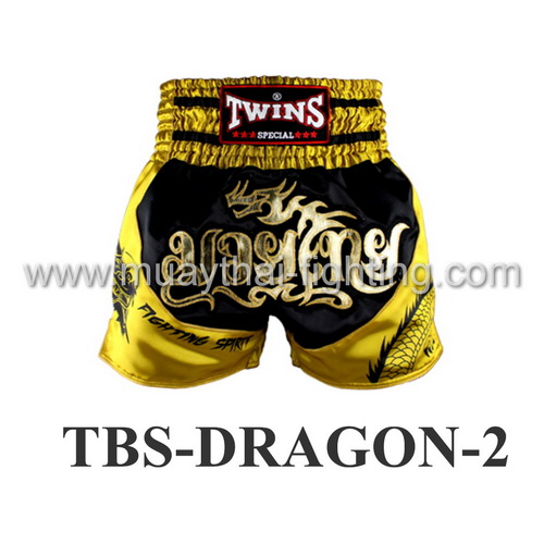 Twins Special Muay Thai Shorts Dragon Black Yellow TBS-DRAGON-2