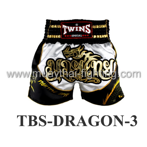 Twins Special Muay Thai Shorts Dragon White Black TBS-DRAGON-3