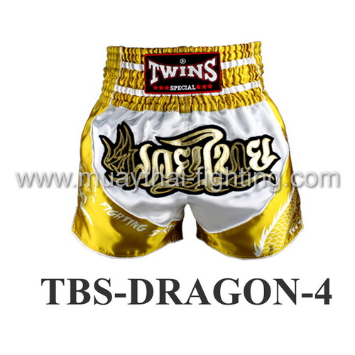 Twins Special Muay Thai Shorts Dragon White Yellow TBS-DRAGON-4