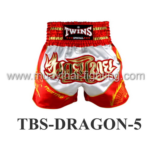 Twins Special Muay Thai Shorts Dragon White Orange TBS-DRAGON-5