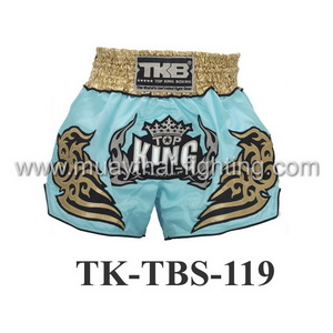 Top King Muay Thai Shorts TK-TBS-119 Light Blue Gold