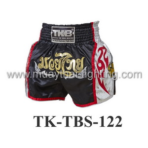 Top King Muay Thai Shorts TK-TBS-122 Black-Silver Muaythai