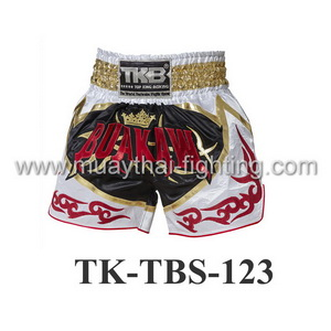 Top King Muay Thai Shorts TK-TBS-123 White-Black Buakaw