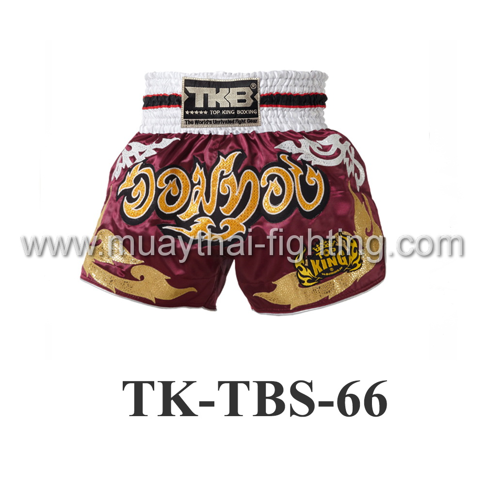 Top King Muay Thai Shorts TK-TBS-66 Red Jom Thong