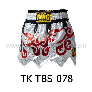 Top King Muay Thai Shorts TK-TBS-78 White Red