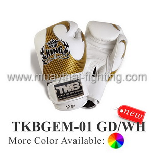 TOP KING Boxing Gloves Empower Creativity TKBGEM-01 Gold/White