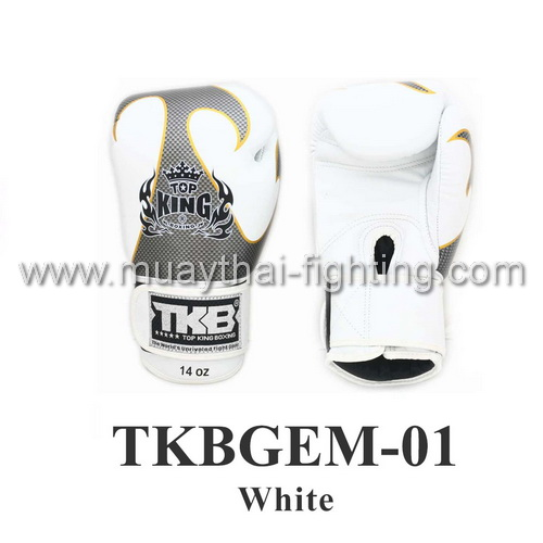 Top King Boxing Gloves Empower Creativity TKBGEM-01 White
