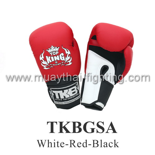 "TOP KING Boxing Gloves Super ""Air"" TKBGSA-White/Red/Black"
