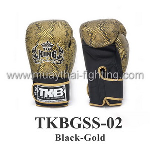 TOP KING Boxing Gloves Snake Design TKBGSS-02 Black/Gold
