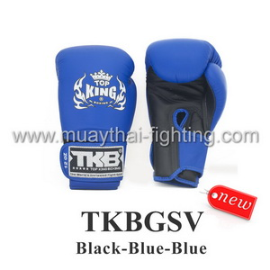 "TOP KING Boxing Gloves ""Super"" TKBGSV-Black/Blue/Blue"