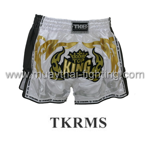 TOP KING Special Retro Muay Thai White Shorts TKRMS