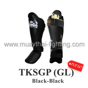TOP KING Shin Guard Pro Genuine Leather TKSGP (GL)-Black/Black