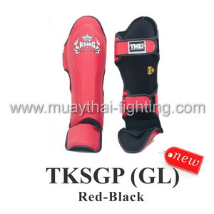 TOP KING Shin Guard Pro Genuine Leather TKSGP (GL)-Red/Black