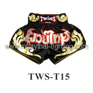 Twins Special Muay Thai Shorts Black with Gold Design TWS-T15
