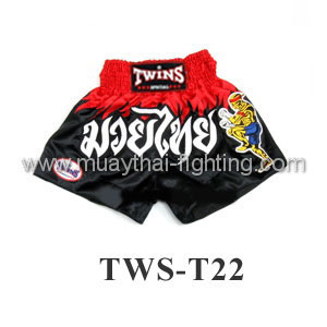Twins Special Muay Thai Shorts Black with Red Waist TWS-T22