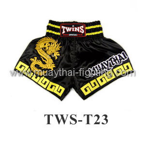 Twins Special Muay Thai Shorts Chinese Dragon Black TWS-T23