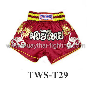Twins Special Muay Thai Shorts Red with Flower Design TWS-T29