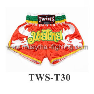 Twins Special Muay Thai Shorts Orange with White Side TWS-T30