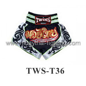 Twins Special Muay Thai Shorts Black White TWS-T36