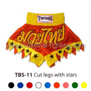 Twins Special Muay Thai Shorts Cut legs with stars TBS-11