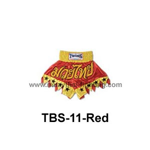 Twins Special Muay Thai Shorts Cut legs with stars TBS-11 Red