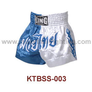 Top King Blue White Satin Muay Thai Shorts KTBSS-003